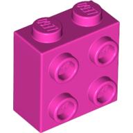 Yapı Taşı +4 Yan Çıkıntı Dönüştürücü 1x2x1 - Mor