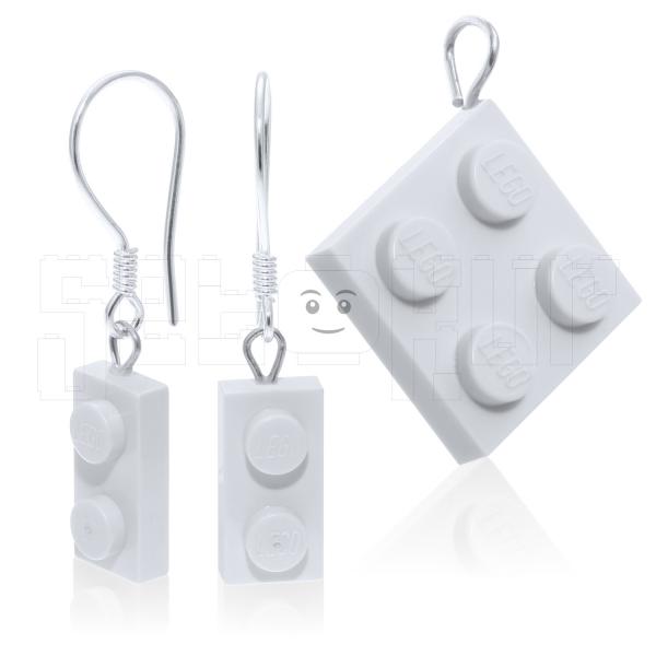 925-Gümüş Takı LEGO Plaka 3lü Set 1x2/2x2 - Beyaz